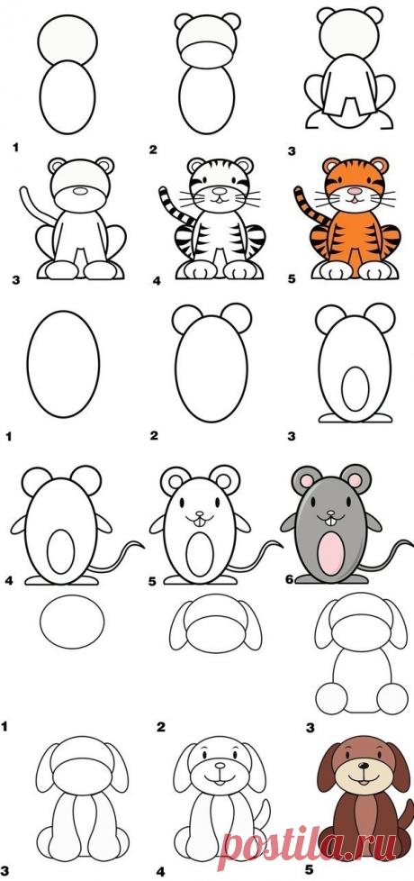 Уроки рисования: как нарисовать верблюда, тигра, слона, корову, пингвина, овечку, собаку, олбезьяну - Поделки с детьми | Деткиподелки
