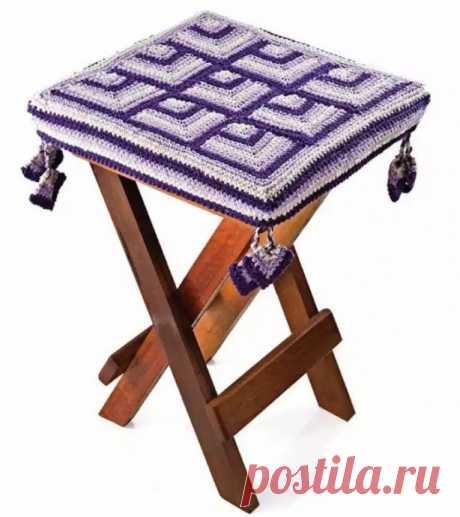 Коврик-сидушка на квадратный табурет, крючком. Схема. / Вязаные идеи, идеи для вязания