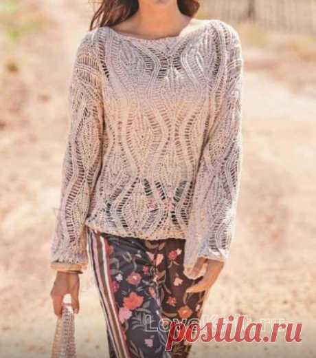 Узорчатый свитер с большими ромбами и сумка схема спицами