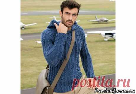 Мужской пуловер с капюшоном. МК | Вязание спицами