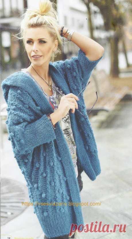 """ВСЕ СВЯЗАНО. ROSOMAHA.: Весеннее пальто с капюшоном узором """"с шишечками"""". Все для комфорта весной и летом!"""