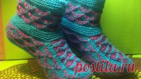 Вязание спицами тапочки-сапожки