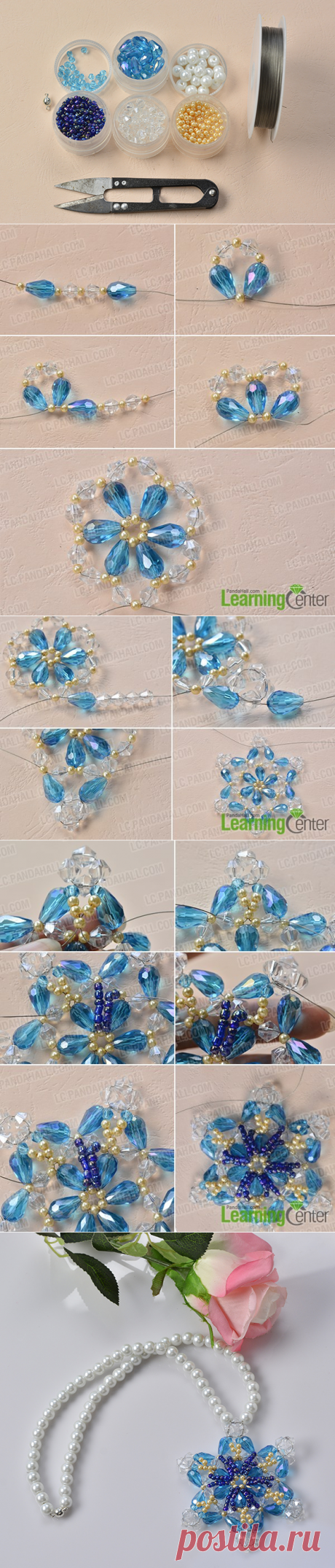 How to Make a Blue Glass Beaded Snowflake Pendent Necklace