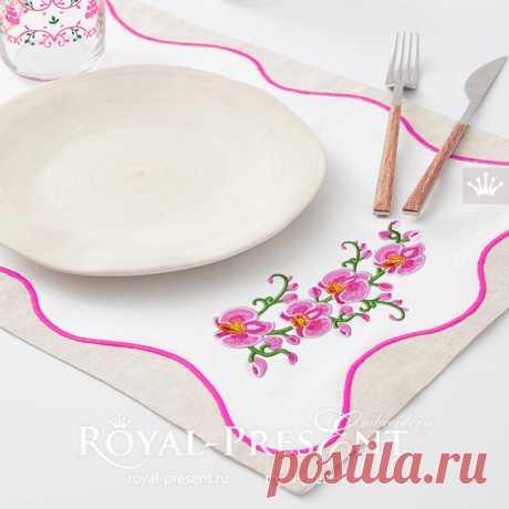 Дизайн машинной вышивки Розовые Орхидеи - 3 размера