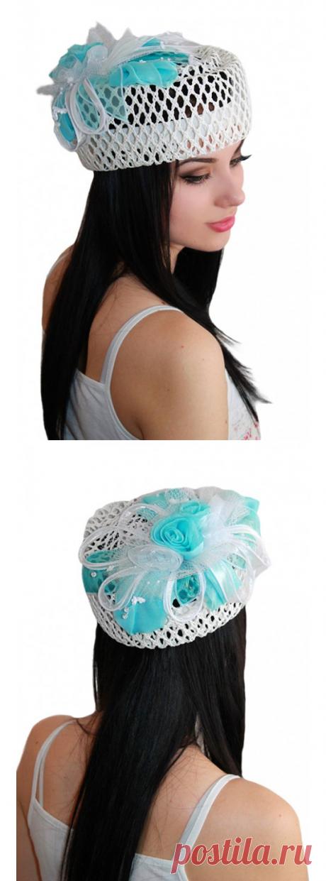 """Шляпка-таблетка """"Незабудка"""", летняя модель из белой рисовой соломки"""