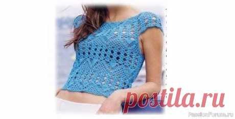 Нежный топик. Описание | Женская одежда крючком. Схемы и описание Источник