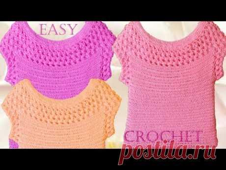 Blusa en punto entrecruzado tejida a Crochet - Learn crochet knitting - YouTube