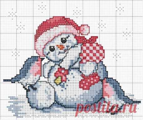 Новогодняя вышивка крестом Снеговичок и снегири - Портал рукоделия и моды