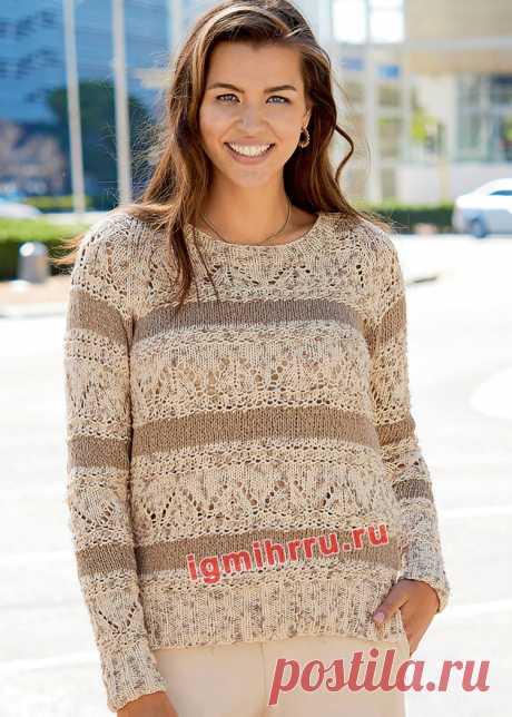 Пуловер с полосами разных цветов и узоров. Вязание спицами со схемами и описанием
