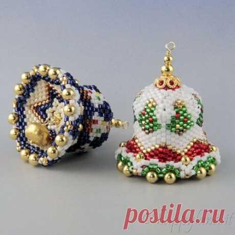 Новогодние колокольчики из бисера   Домашний hand-made