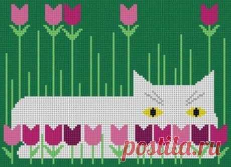 Потрясающий тыквенный кот Чарли Харпера и другие его котики в схемах для многоцветного вязания и вышивки. | Вязалки Веселого Хомяка | Яндекс Дзен