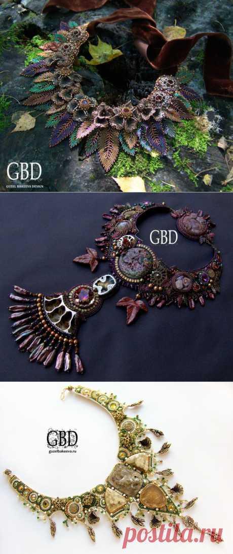 Дизайнерские украшения ручной работы от Guzel Bakeeva. Украшения в цветах осени и земли.