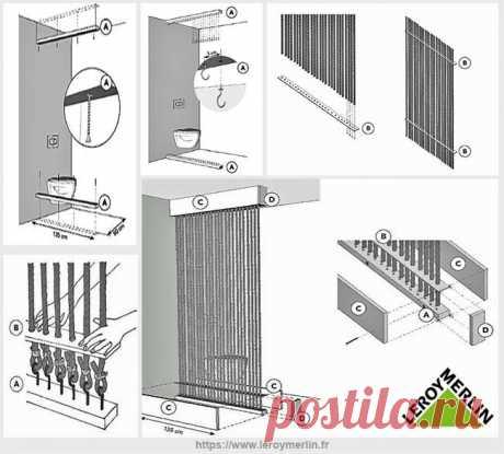 Веревочная декоративная перегородка в ванной комнате   Идеи домашнего мастера