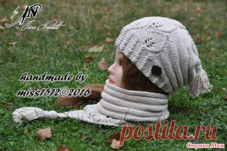 """. El gorrito y snud por los rayos \""""Listiki Lapeliai\"""" para la hija, con el esquema - el S. U - los Sombreros Tejidos - el País de las Mamás"""