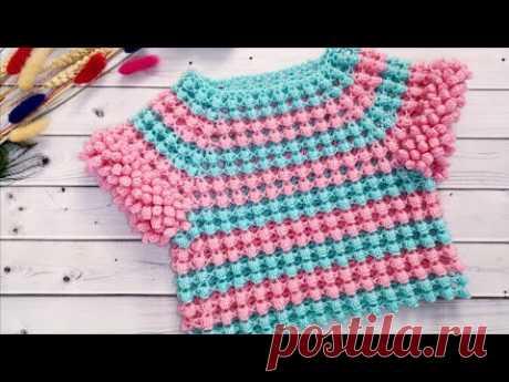 Эффектная обвязка пышными столбиками ПОП-КОРН//POP-Korn crochet
