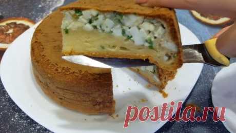 Вкусный, нежный заливной пирог с луком