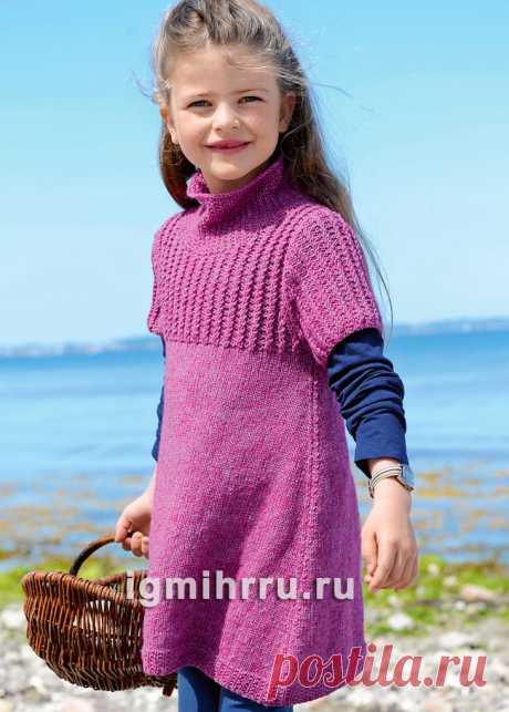 Для девочки 3-9 лет. Туника с воротником-стойкой и кокеткой из «кос». Вязание спицами для девочек