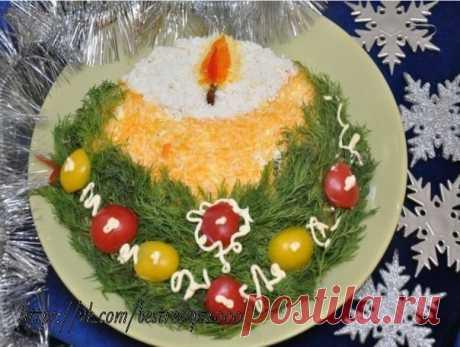 Салат «Свеча»  Ингредиенты: вареный картофель – 2 шт., яйца вареные – 3 шт., Показать полностью…