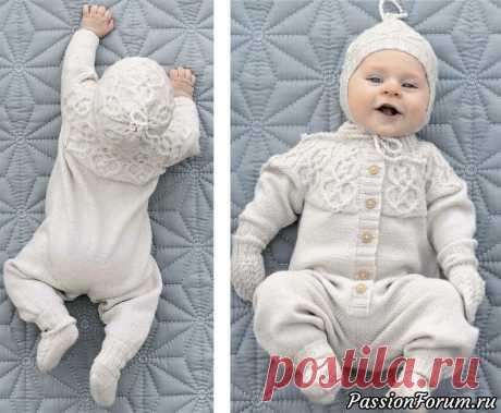Комплект с узором из кос для новорожденных. Схема и описание | Вязание спицами для детей Красивый комплект из комбинезона, носочков, шапочки и митенок прекрасно подойдет и мальчикам, и девочкам.РАЗМЕРЫКомбинезон1/3 (6/9–12/18) 24 месяцаОбхват груди: 54 (59–63) 67 смДлина штанины: 18 (21–25) 29 смОбщая длина: 52 (60–67) 73 смДлина рукава от подмышки: 14 (16–18) 22 смШапочкаНа...