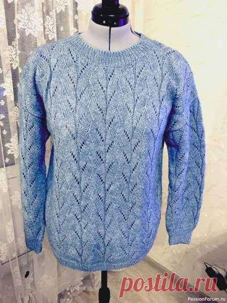 Голубой пуловер | Вязание спицами. Работы пользователей