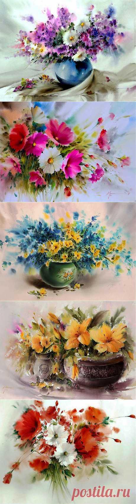 Пусть в Сердце распускаются Цветы...  Прекрасные акварели Mohammad Yazdchi.  С первым днем весны!