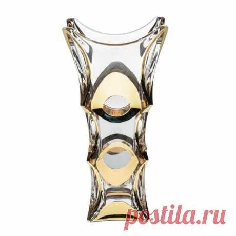 """Хрустальная Ваза """"X-Lady Gold"""" (Икс-Леди Голд) 30 см. Crystal Bohemia купить в Москве"""