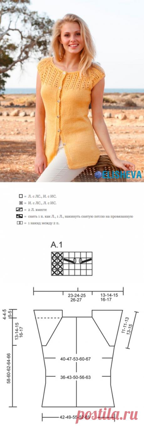 Летний жакет на пуговицах с регланом и короткими рукавами от Drops Design, вязаный спицами   Блог elisheva.ru