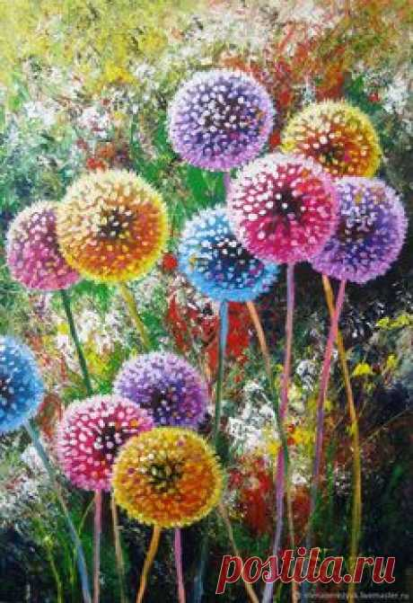 Dandelion flower art Original acrylic painting summer landscape – shop online on Livemaster with shipping