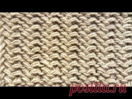 Двухсторонний плотный узор спицами / Простой узор в 1 ряд