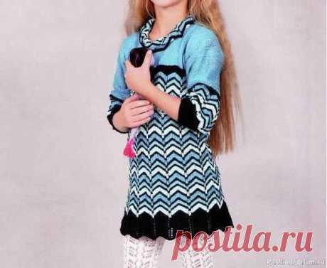 Вязаное платье для девочки 6 лет | Вязание спицами для детей