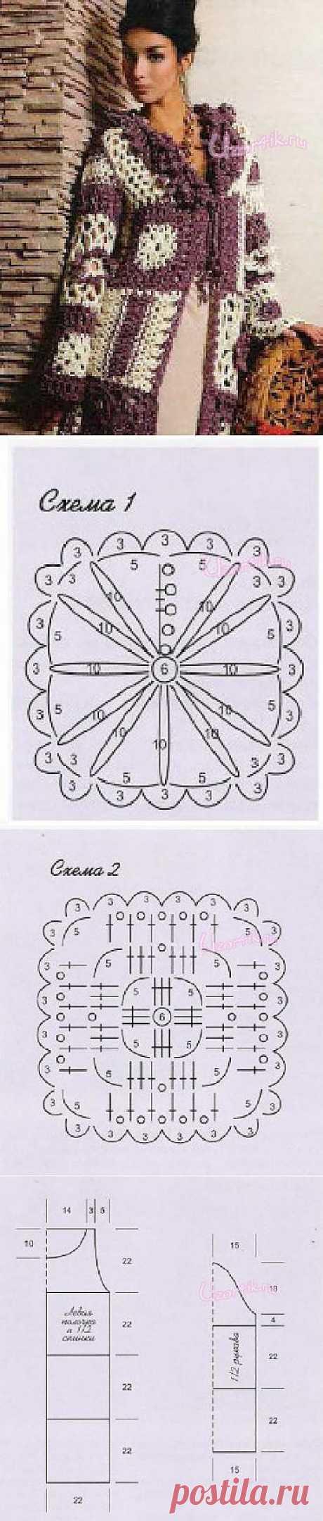 Пальто - Описание вязания, схемы вязания крючком и спицами | Узорчик.ру