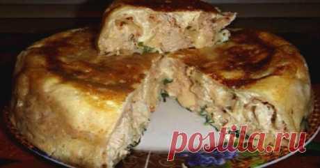Пирог на кефире с курицей. Пойду опять за кефиром…очень удачный рецепт!     Пышное тесто и сочная начинка!          Ингредиенты: Пшеничная мука — 180 гКефир — 250 млЯйцо — 1 шт.Соль по вкусуСода — 1 щеп.Черный перец (молотый) по вкусуКуриное филе — 350 гЛук — 2 шт.Зелень …