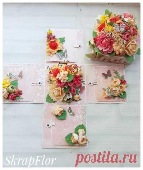 Цветочная коробочка, которая сможет впечатлить! В такой коробочке можно подарить денежный подарок, украшение или просто написать слова благодарности или поздравления. Все цветочки ручная работа!