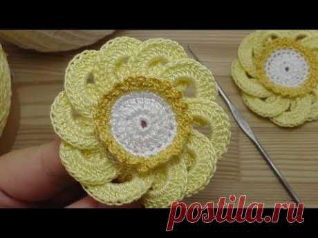 Вязаные цветы  Ирландский цветок  How to crochet flower