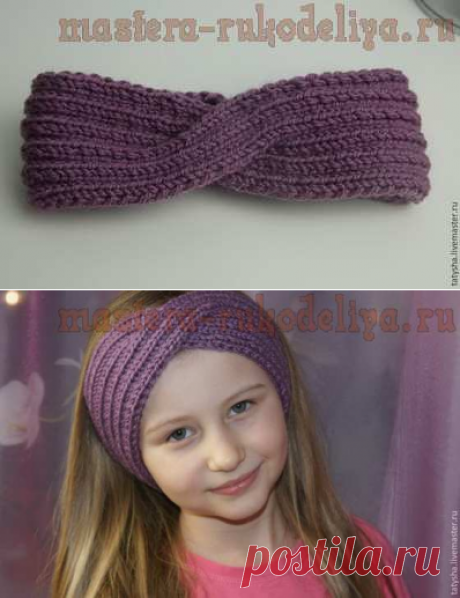 Master class in knitting by spokes: A beautiful bandage for the girl