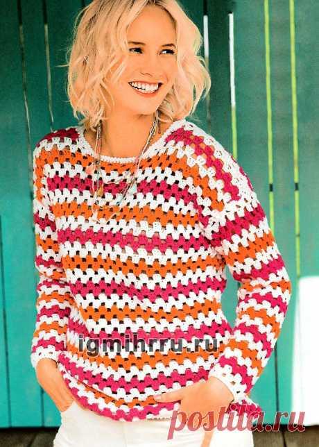 Пуловер с зигзагообразными полосками. Вязание крючком