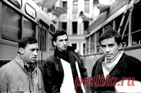 Владимир Высоцкий, Алексей Локтев и Геннадий Ялович на съёмках к/ф ''Наш дом''. Москва, 18 октября 1964 г.