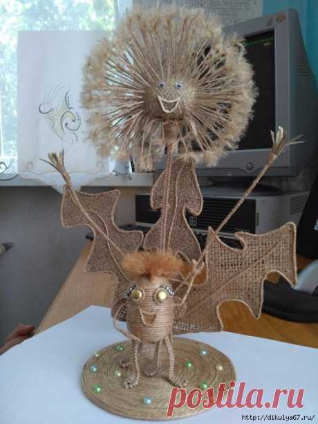 Modeling - designing. Hand-made articles from jute and a sacking