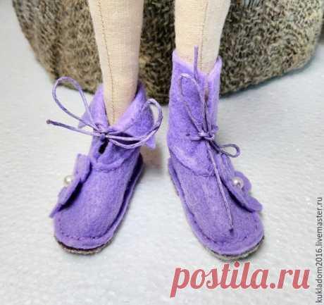 Шьем нежные ботинки для Тильды из фетра