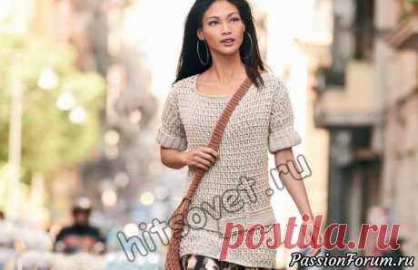 Пуловер крючком женский - запись пользователя Лисик (Светлана) в сообществе Вязание крючком в категории Женская одежда крючком. Схемы и описание
