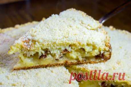 Сахарный пирог с изюмом и яблоками на кефире - медиаплатформа МирТесен