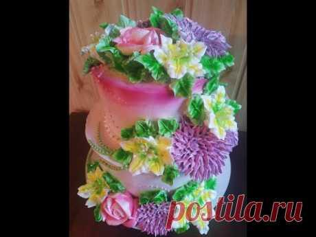 Белково -заварное украшение торта. Как красиво и легко украсить торт.  Юлия Клочкова.