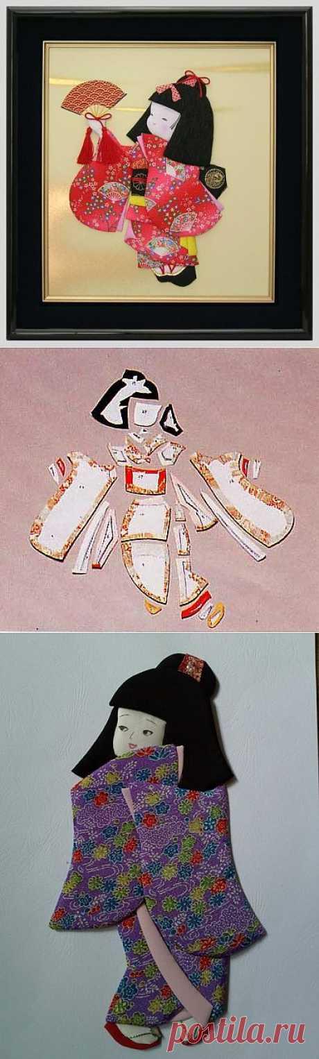 Панно с японскими куклами в технике пэчворка без иголки.