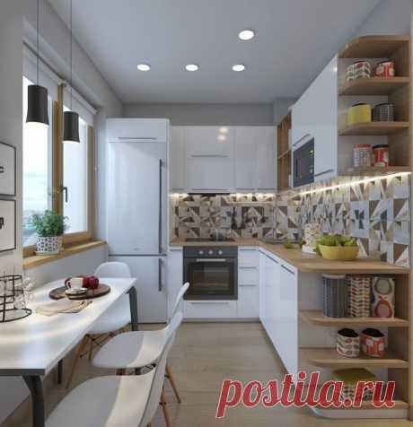 Угловая светлая кухня