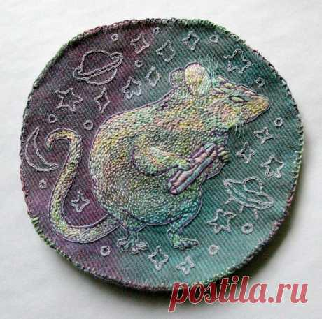 intergalactic thief rat hand embroidery