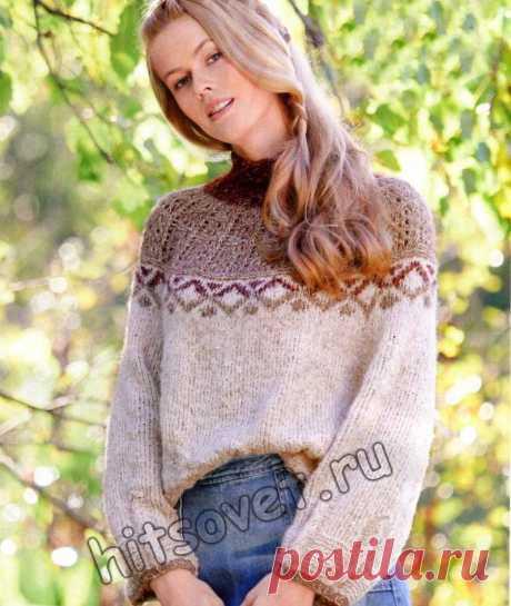 Свитер оверсайз женский - Хитсовет Модная модель женского свитера оверсайз со схемами и пошаговым бесплатным описанием вязания. Размеры свитера: 36-38 (40-42, 44-46, 48-50). Вам потребуется: 350 (400, 450, 500) грамм бежевой, 50 (50, 100, 100) грамм светло-коричневой и 50 (100, 100, 100) грамм ягодной пряжи, состоящей из 38% шерсти альпака, 38% хлопка, 16% шелка, 8% полиамида; длиной нити 150 метров …