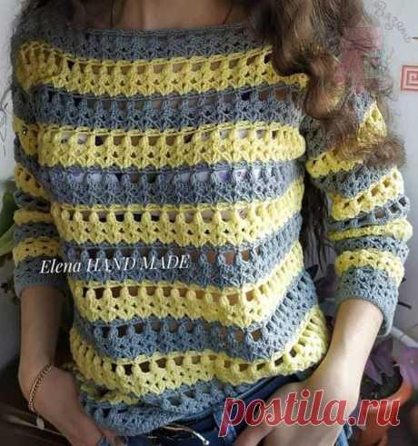 Летний пуловер из хлопка