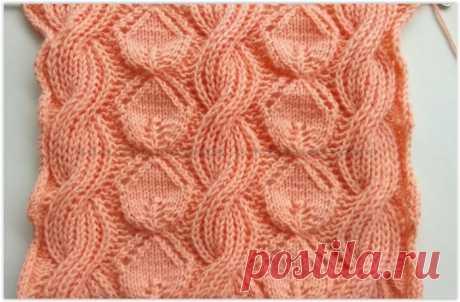Нежный узор с листиками и жгутами из английской резинки - схема вязания спицами
