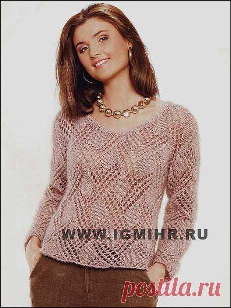 Спицы.Бежевый ажурный пуловер.