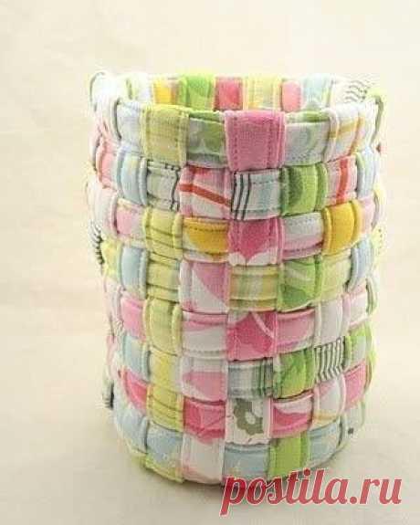 Плетем корзинку из полосок ткани — Сделай сам, идеи для творчества - DIY Ideas